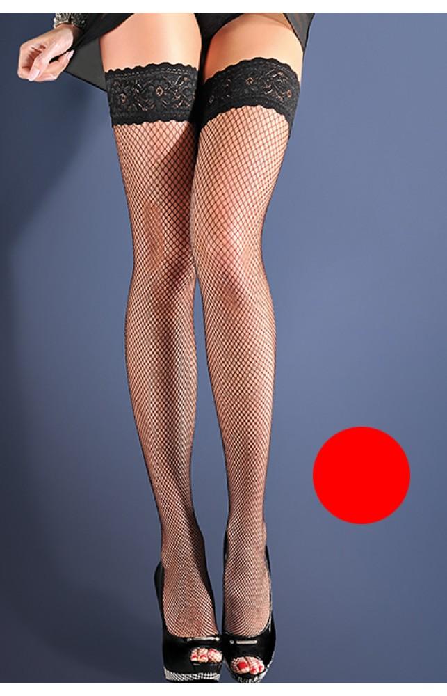 Чулки Gabriella Calze Kabarette 151 с самоудеживающимся кружевом (9 см) Красный