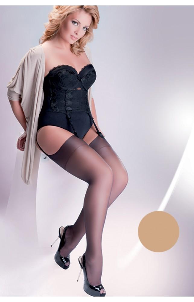 Чулки Gabriella Calze Cher 15 den plus size под пояс Телесный