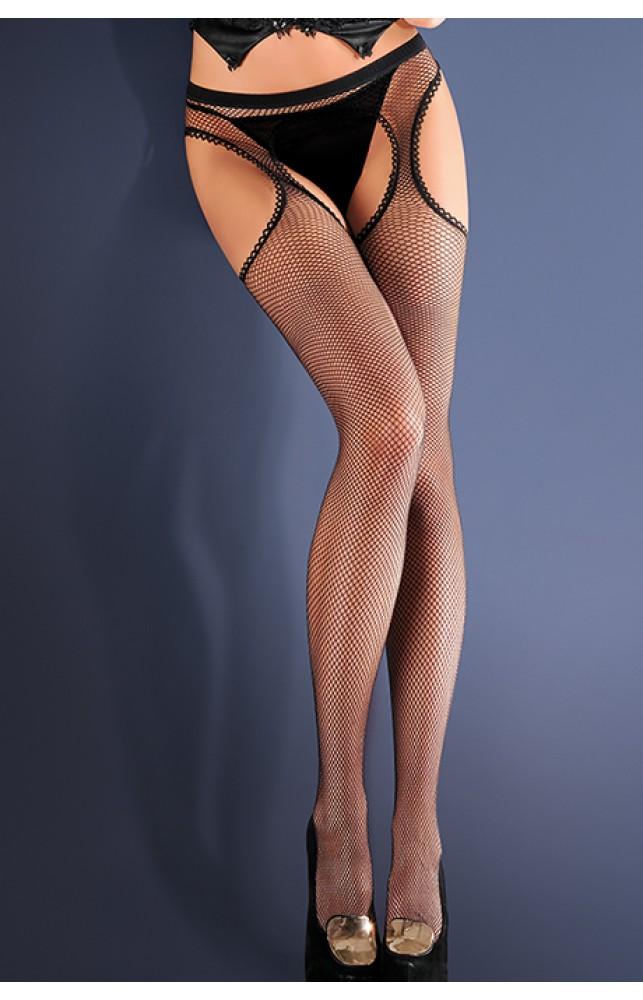 Чулки с поясом в мелкую сетку Strip Panty 151 Черный