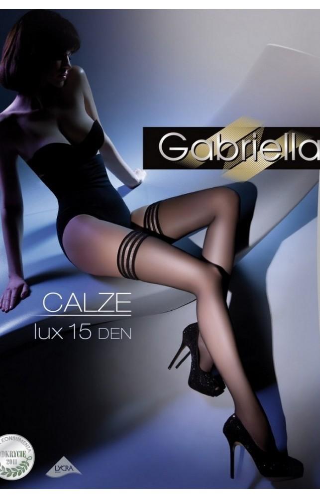 Чулки Gabriella Calze Lux 15 den с самоудеживающимся кружевом (9 см) Черный