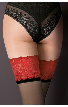 Чулки Gabriella Victoria 20 den с самоудеживающимся кружевом (14 см) Черно-черно-красный