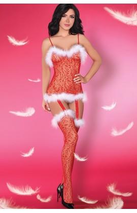 Комбинезон-сетка LivCo Corsetti Catriona Christmas Красно-белый