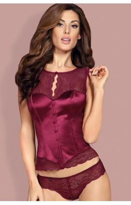 Комплект - Obsessive Miamor corset Бургунд