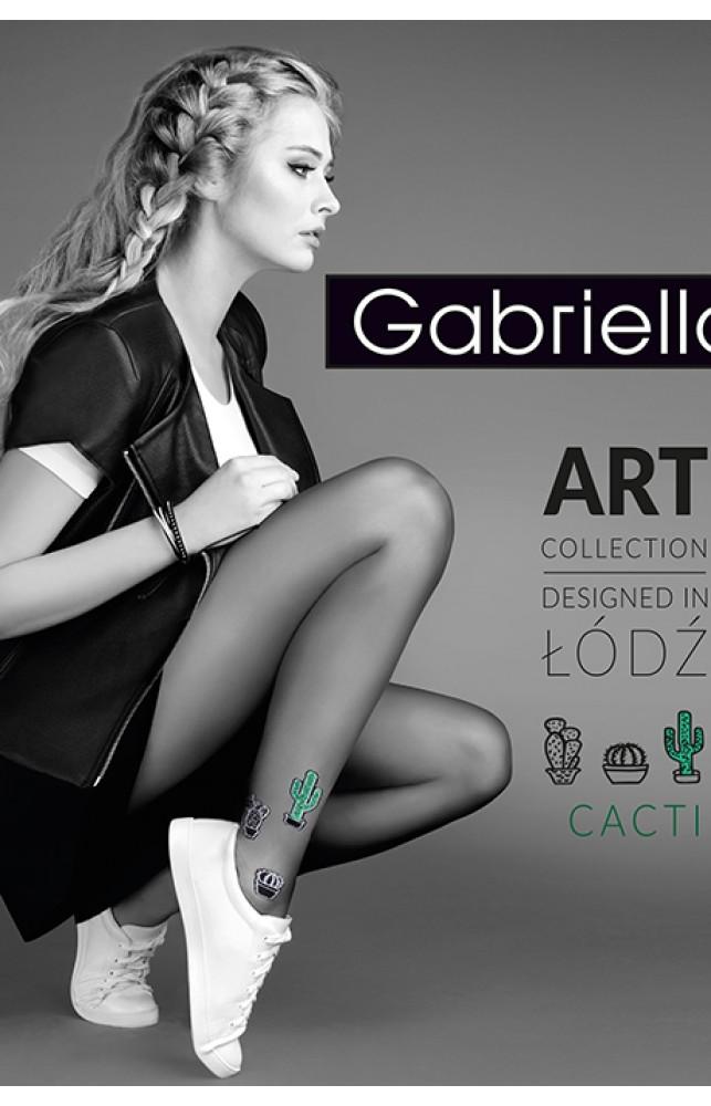 Колготки Gabriella Cacti 20 den без трусиковой части Черно-зеленый